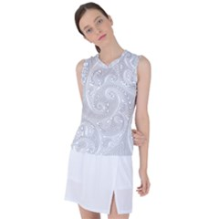White Abstract Paisley Pattern Women s Sleeveless Sports Top by SpinnyChairDesigns