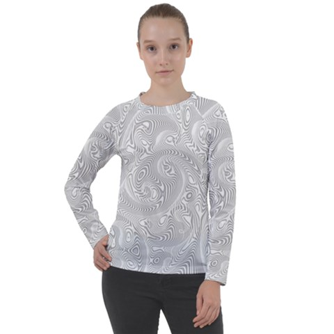 White Abstract Paisley Pattern Women s Long Sleeve Raglan Tee by SpinnyChairDesigns
