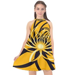 Black Yellow Abstract Floral Pattern Halter Neckline Chiffon Dress
