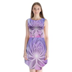 Watercolor Blue Purple Floral Pattern Sleeveless Chiffon Dress