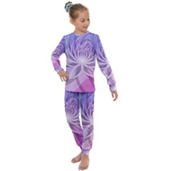 Watercolor Blue Purple Floral Pattern Kids  Long Sleeve Set