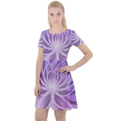 Watercolor Blue Purple Floral Pattern Cap Sleeve Velour Dress
