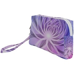 Watercolor Blue Purple Floral Pattern Wristlet Pouch Bag (small) by SpinnyChairDesigns