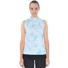 Light Blue And White Abstract Paisley Mock Neck Shell Top by SpinnyChairDesigns