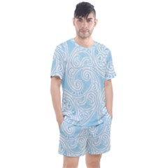 Light Blue And White Abstract Paisley Men s Mesh Tee And Shorts Set