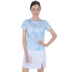 Light Blue And White Abstract Paisley Women s Sports Top