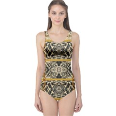 Antique Black And Gold One Piece Swimsuit by SpinnyChairDesigns