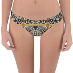 Antique Black And Gold Reversible Hipster Bikini Bottoms by SpinnyChairDesigns