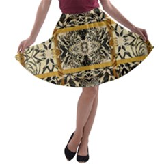 Antique Black And Gold A-line Skater Skirt by SpinnyChairDesigns
