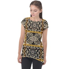 Antique Black And Gold Cap Sleeve High Low Top