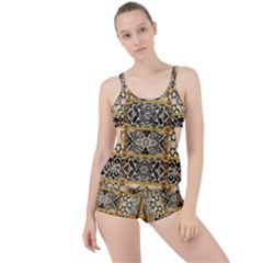 Antique Black And Gold Boyleg Tankini Set  by SpinnyChairDesigns