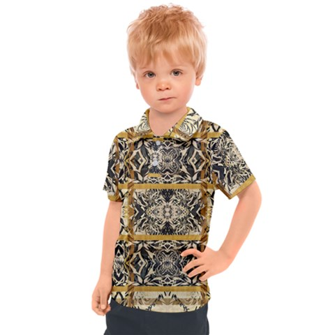 Antique Black And Gold Kids  Polo Tee by SpinnyChairDesigns