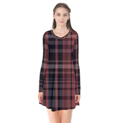 Black And Red Striped Plaid Long Sleeve V-neck Flare Dress