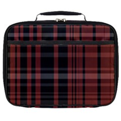 Black And Red Striped Plaid Full Print Lunch Bag