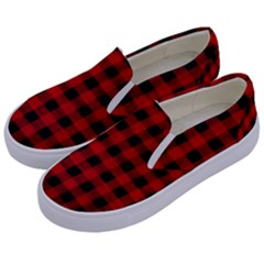 Grunge Red Black Buffalo Plaid Kids  Canvas Slip Ons by SpinnyChairDesigns