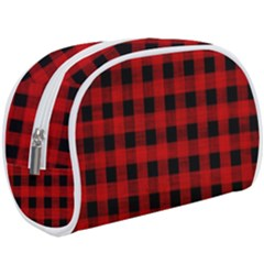 Grunge Red Black Buffalo Plaid Makeup Case (large) by SpinnyChairDesigns