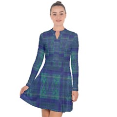 Blue Green Faded Plaid Long Sleeve Panel Dress