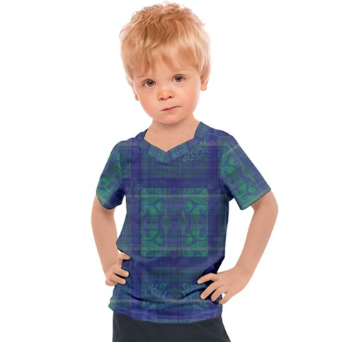 Blue Green Faded Plaid Kids  Sports Tee by SpinnyChairDesigns
