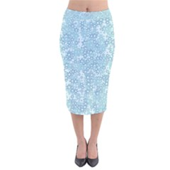Light Blue Wildflowers Velvet Midi Pencil Skirt