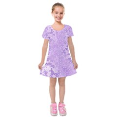 Purple Wildflowers Pattern Kids  Short Sleeve Velvet Dress by SpinnyChairDesigns