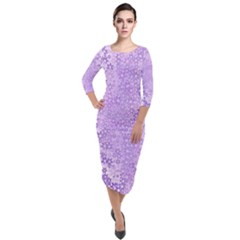 Purple Wildflowers Pattern Quarter Sleeve Midi Velour Bodycon Dress