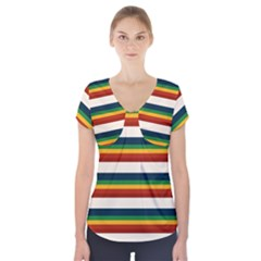 Rainbow Stripes Short Sleeve Front Detail Top