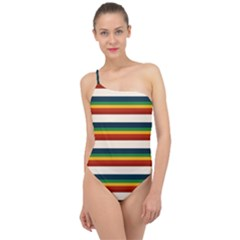 Rainbow Stripes Classic One Shoulder Swimsuit by tmsartbazaar
