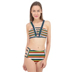 Rainbow Stripes Cage Up Bikini Set by tmsartbazaar