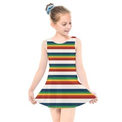 Rainbow Stripes Kids  Skater Dress Swimsuit by tmsartbazaar