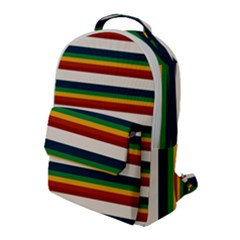 Rainbow Stripes Flap Pocket Backpack (large) by tmsartbazaar