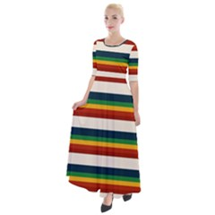 Rainbow Stripes Half Sleeves Maxi Dress by tmsartbazaar