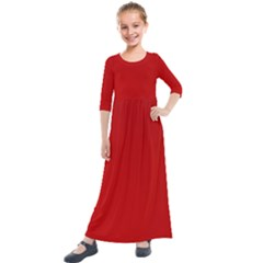 Wavy Rouge Red  Kids  Quarter Sleeve Maxi Dress