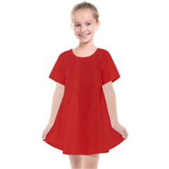 Wavy Rouge Red  Kids  Smock Dress