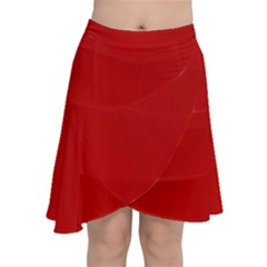 Wavy Rouge Red  Chiffon Wrap Front Skirt