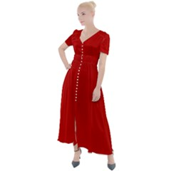 Wavy Rouge Red  Button Up Short Sleeve Maxi Dress