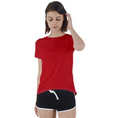 Wavy Rouge Red  Short Sleeve Foldover Tee