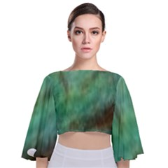 True Turquoise Tie Back Butterfly Sleeve Chiffon Top