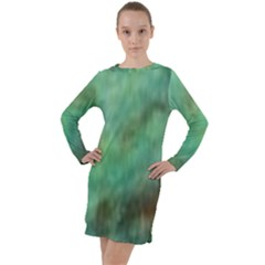 True Turquoise Long Sleeve Hoodie Dress