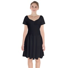 Rich Ebony Short Sleeve Bardot Dress