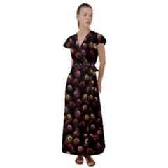 Zombie Eyes Pattern Flutter Sleeve Maxi Dress by SpinnyChairDesigns