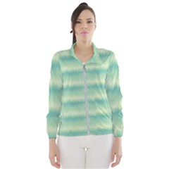 Light Green Turquoise Ikat Pattern Women s Windbreaker by SpinnyChairDesigns