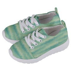 Light Green Turquoise Ikat Pattern Kids  Lightweight Sports Shoes by SpinnyChairDesigns
