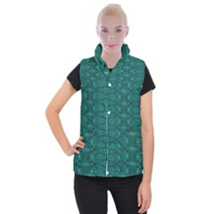 Teal Ikat Pattern Women s Button Up Vest
