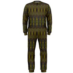 Olive Green And Blue Ikat Pattern Onepiece Jumpsuit (men)