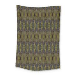 Olive Green And Blue Ikat Pattern Small Tapestry