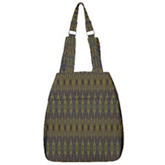 Olive Green And Blue Ikat Pattern Center Zip Backpack