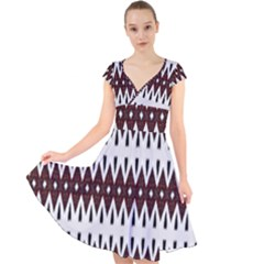 Brown And White Ikat Cap Sleeve Front Wrap Midi Dress