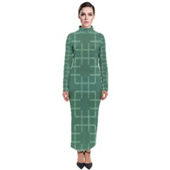 Dark Mint Green Geometric Turtleneck Maxi Dress by SpinnyChairDesigns