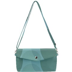 Teal Turquoise Blue Large Polka Dots Removable Strap Clutch Bag