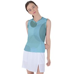 Teal Turquoise Blue Large Polka Dots Women s Sleeveless Sports Top by SpinnyChairDesigns